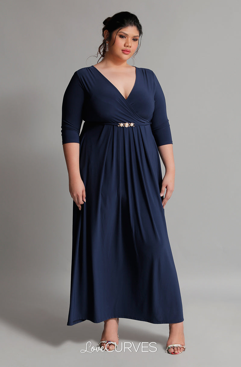 Pleated Wrap Maxi Dress with Charm Belt - Navy Blue