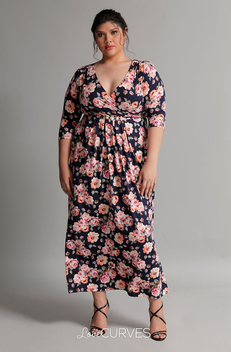 Pleated Wrap Maxi Dress with Charm Belt - Navy Bouquet