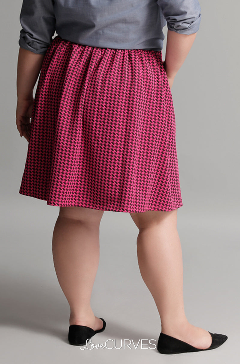 Pleated Skirt with Side Pockets and Belt - Pink Houndstooth - GRA