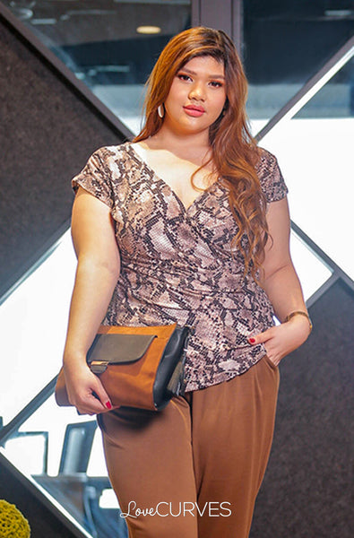 Pleated Wrap Top - Brown Snakeskin