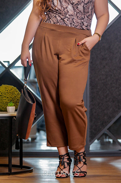 Pintucked Cropped Trousers - Light Brown