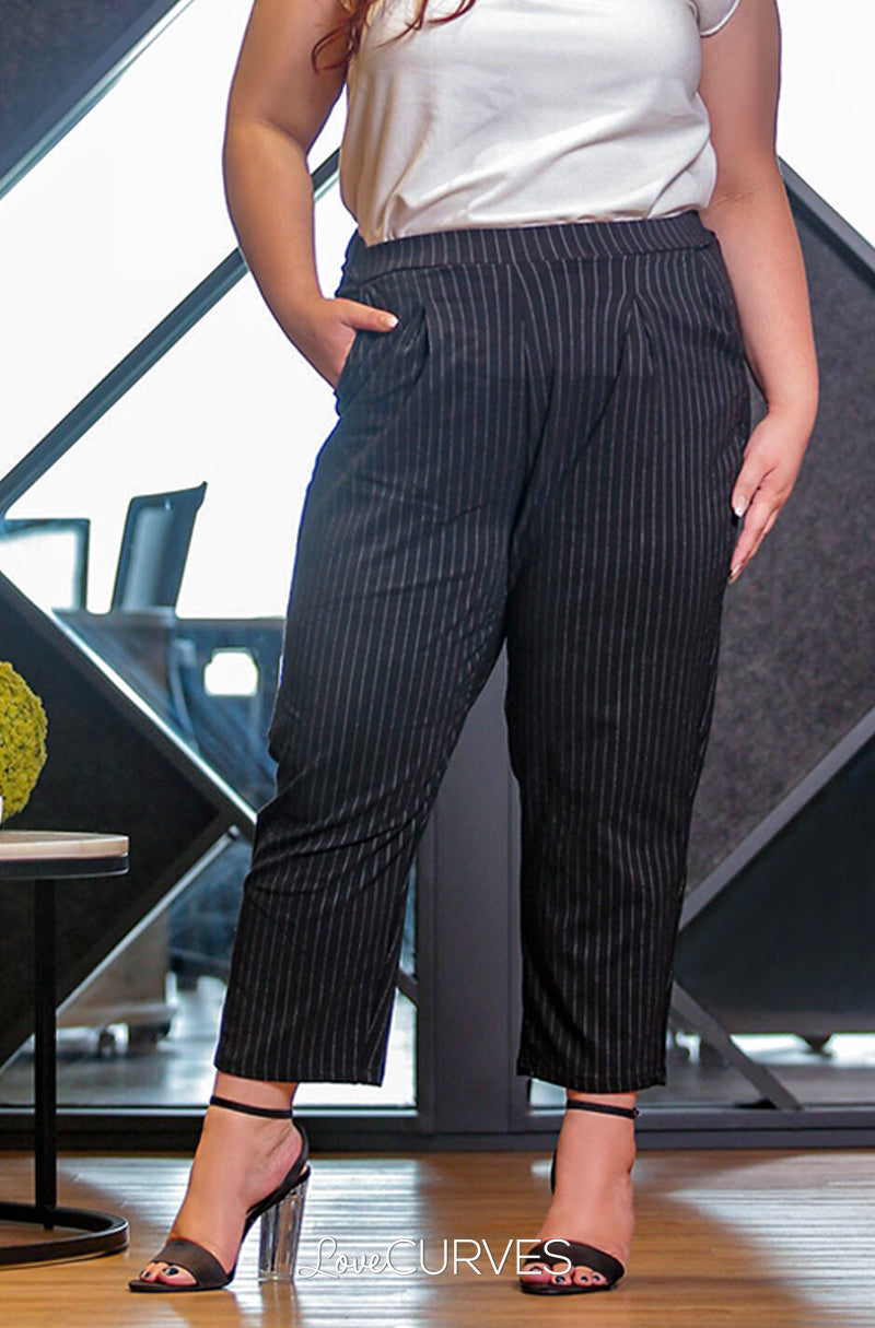 Pintucked Cropped Trousers - Striped Black