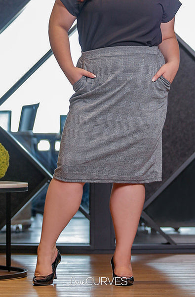 Basic Pencil Skirt with Pockets - Gray Glen Plaids