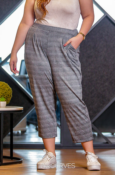 Pintucked Cropped Trousers - Gray Glen Plaids