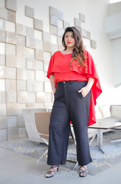 Flowy Capelet Top - Vermillion