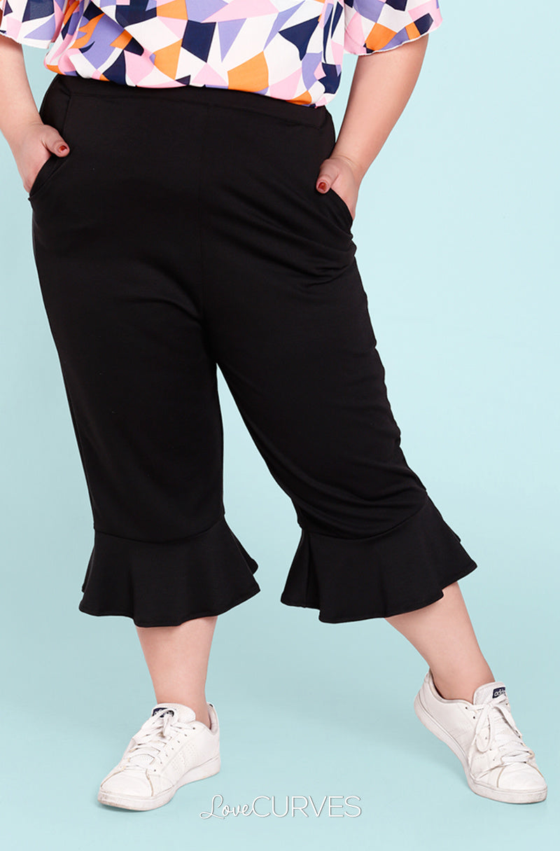 Frill Hem Cropped Pants with Side Pockets - Black - OLI