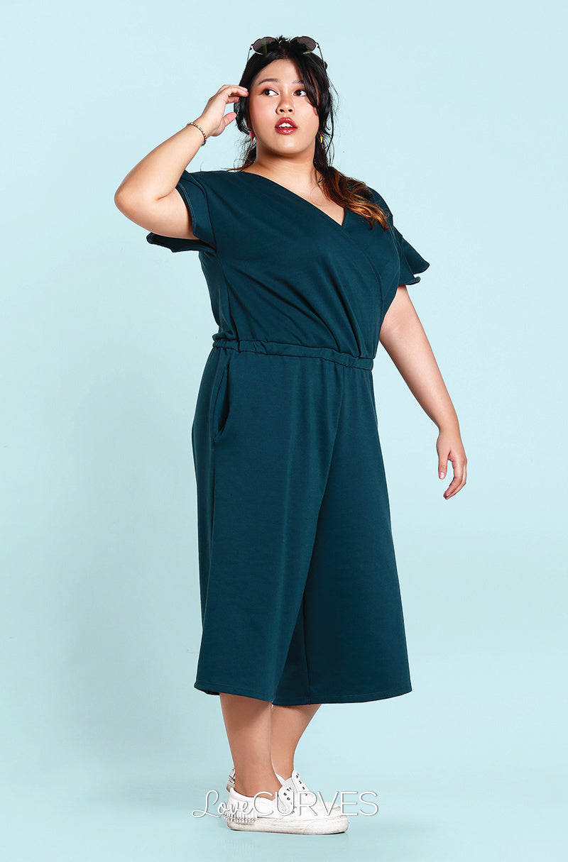 Frill Sleeves Wide Leg Cropped Jumpsuit - Hunter Green -OLI