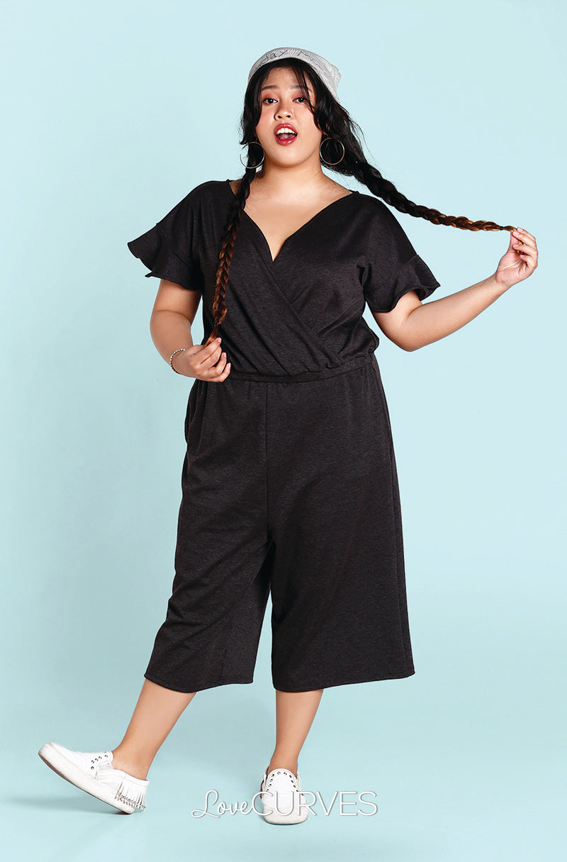 Frill Sleeves Wide Leg Cropped Jumpsuit - Dark Gray -OLI