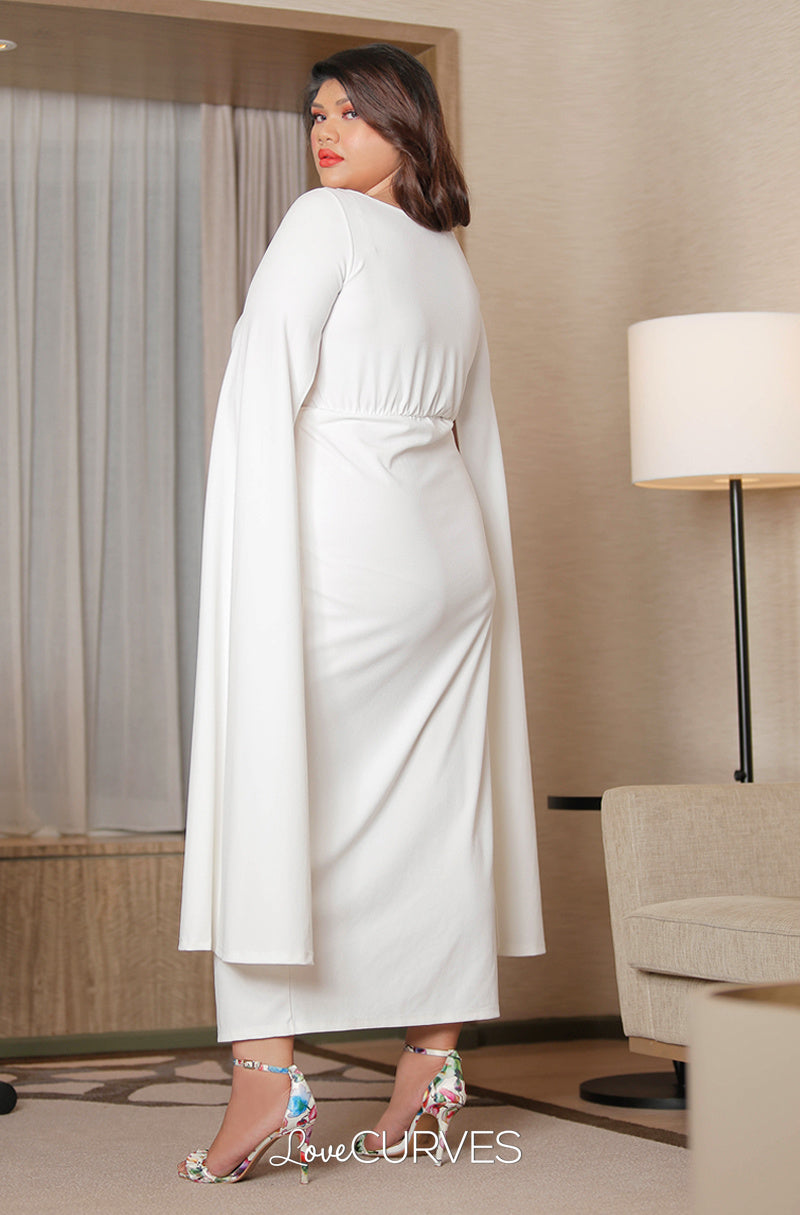 Front Slit Cape Maxi Dress - Cream