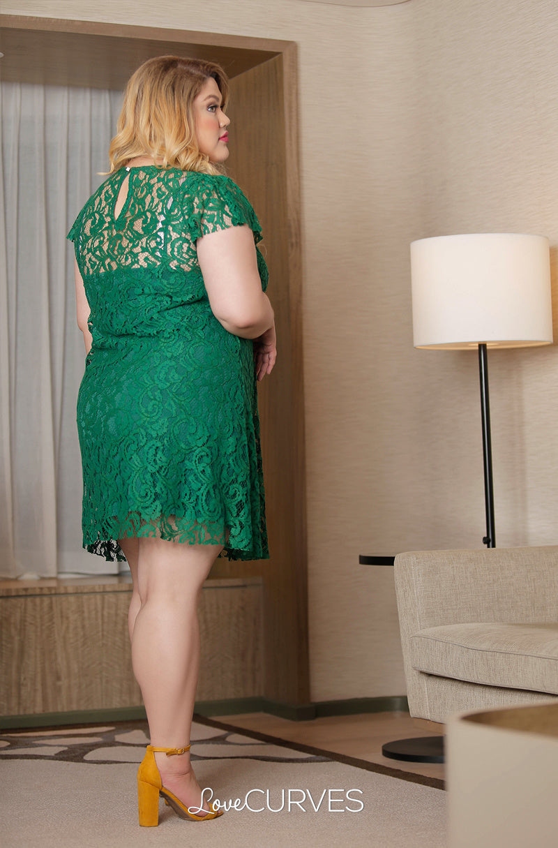 6b337a8246dd Short Lace Dress with Inner Chemise - Emerald – Love Curves Ph