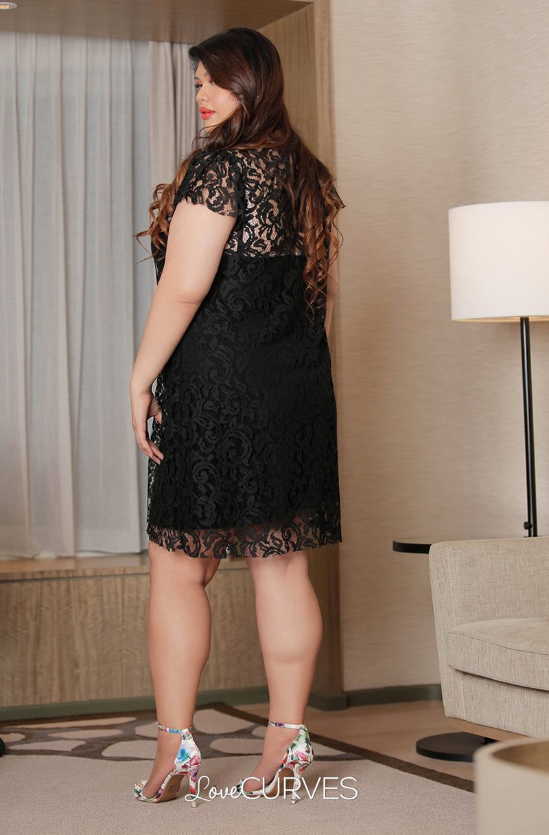 Short Lace Dress with Inner Chemise - Black