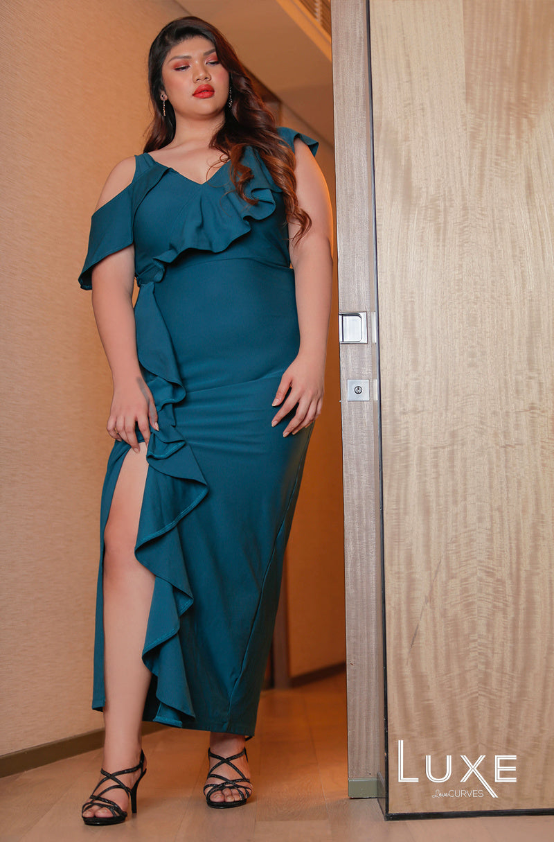 Cold Shoulder Flounce Maxi with Slit - Teal -LUXE