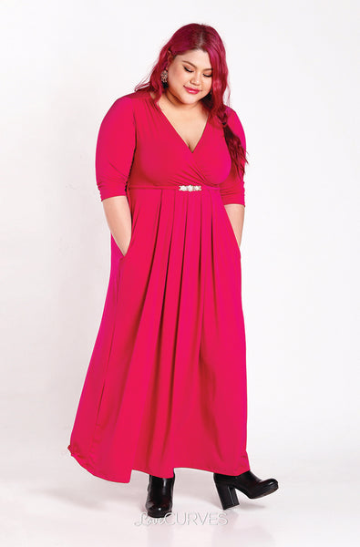 Pleated Wrap Maxi Dress with Charm Belt -Dark Pink - KDR