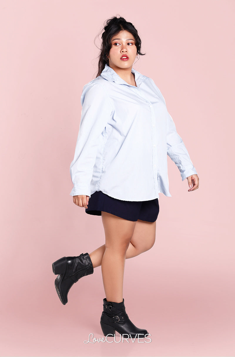 Boyfriend Button Down Shirt - Light Blue