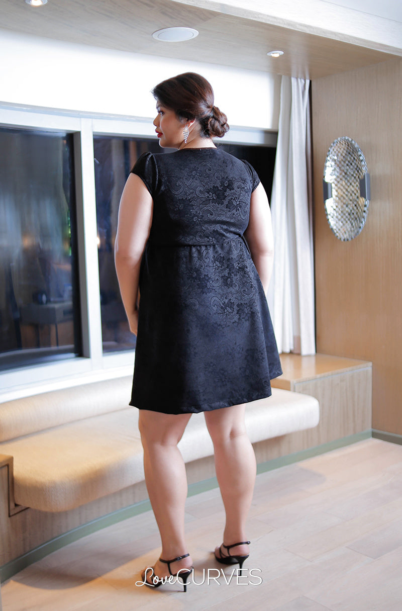Pleated Puff Dress - Black Lace Velvet