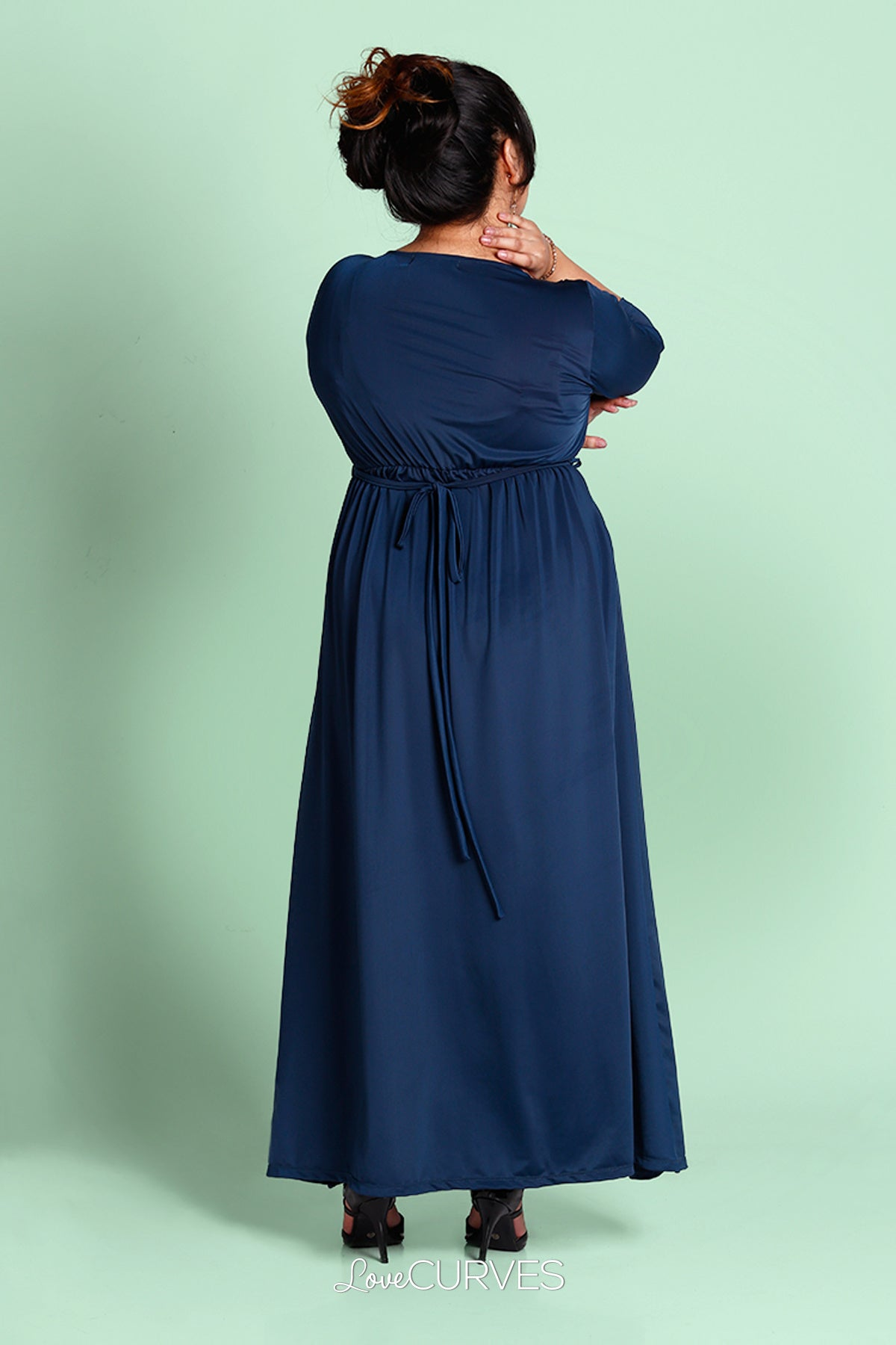 Pleated Wrap Maxi Dress with Charm Belt - Satin Teal- KDR