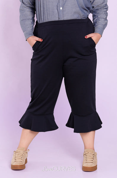 Frill Hem Cropped Pants with Side Pockets - Midnight Blue - OLI