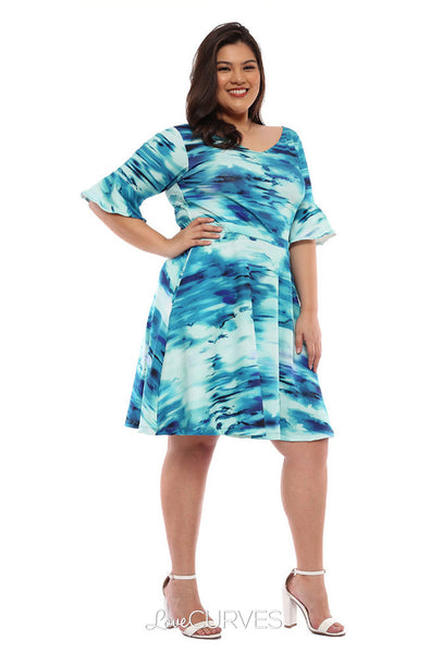 Frill Sleeves Fit and Flare Dress - Azure Tie Dye