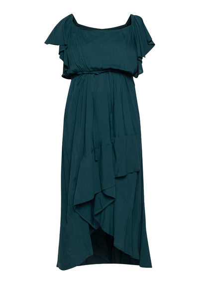 Square Neck Mullet Dress - Forest Green
