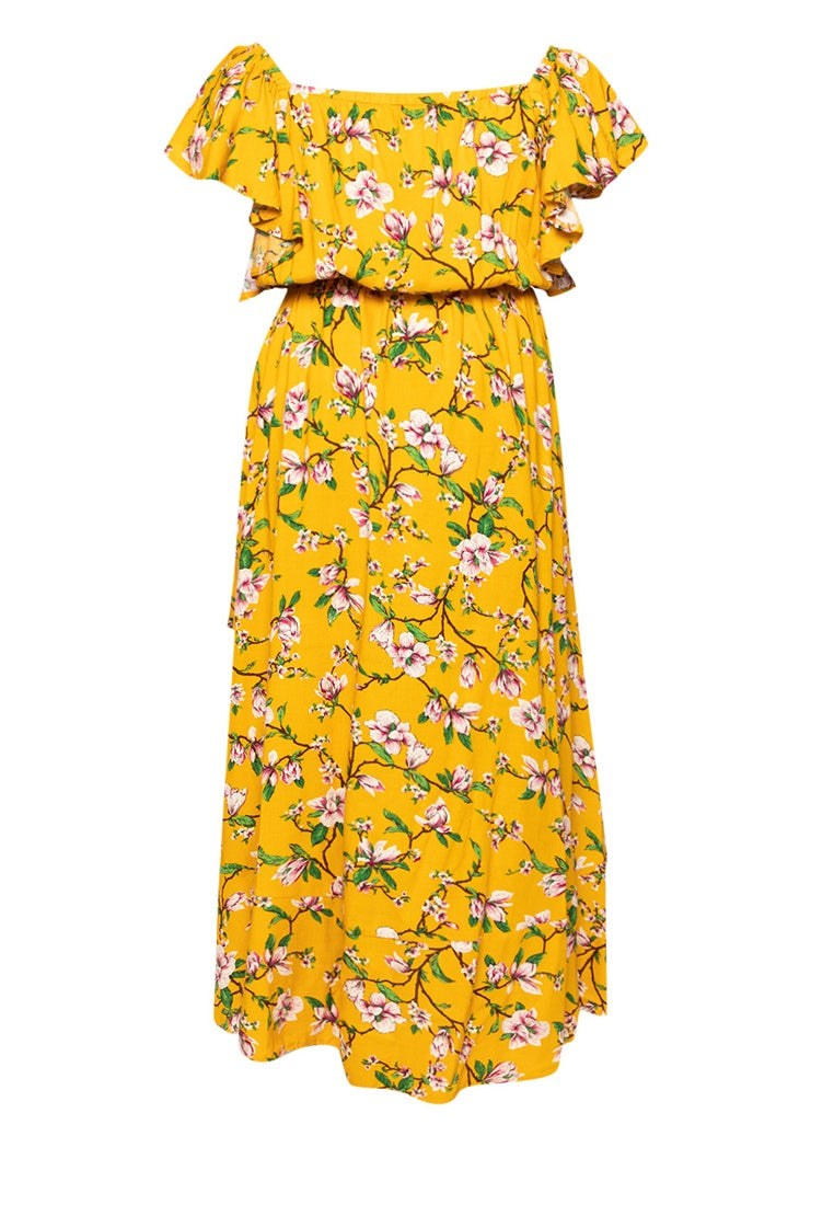 Square Neck Mullet Dress - Floral Mustard