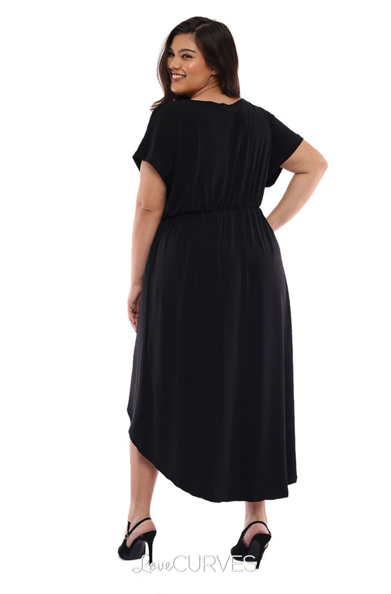 Wrap Mullet Dress with Pockets - Black
