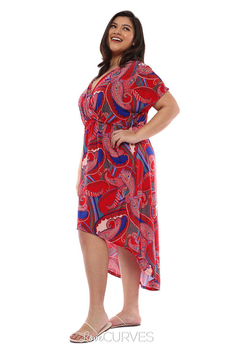 Wrap Mullet Dress with Pockets - Red Paisleys