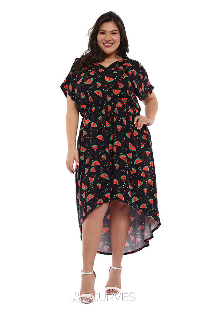 Wrap Mullet Dress with Pockets - Watermelons