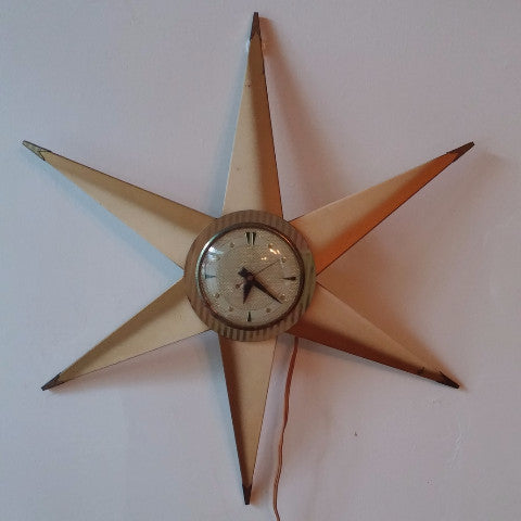 Mid Century Modern 6 Pointed Star Wall Clock