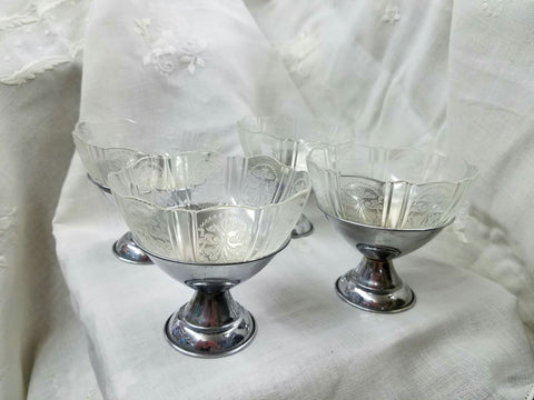 Crystal Depression Glass With Chrome Base Ice Cream/ Sherbert