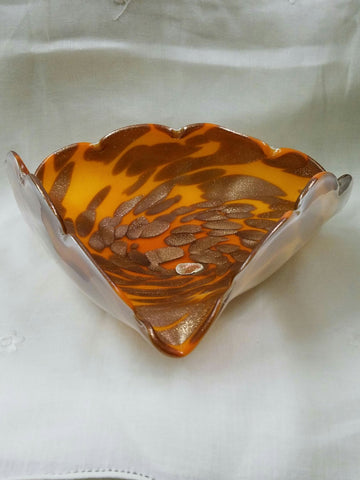 Orange and Gold Swirled Murano Glass Bowl