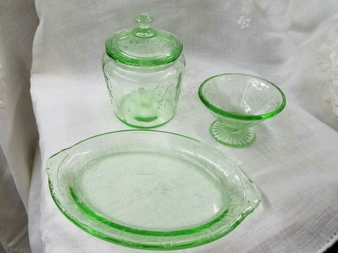 Green Depression Glass Child's Set