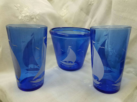 Cobalt Blue Depression Glass Sailboat Glasses And Bucket Set