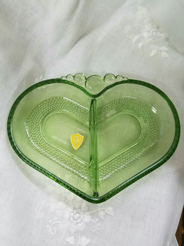 Green Tiffin Glass Heart Divided Dish