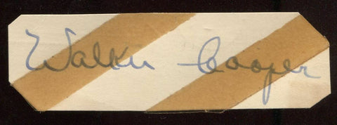 Walker Cooper Signed Cut  From 1951 Autograph Clipped from a GPC