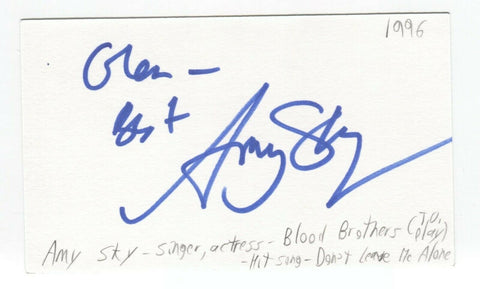 Amy Sky Signed 3x5 Index Card Autographed Signature Singer Songwriter