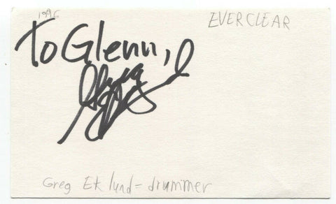 Everclear - Greg Eklund Signed 3x5 Index Card Autographed Signature Band