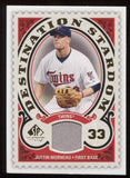 2009 SP Legendary Cuts Justin Morneau Destination Stardom DSM-MO Relic Jersey
