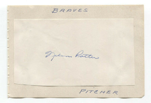 Nelson Potter Signed Album Page Autographed Baseball Vintage Boston Braves