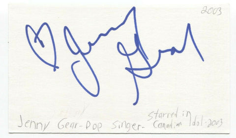 Jenny Gear Signed 3x5 Index Card Autographed Signature Singer
