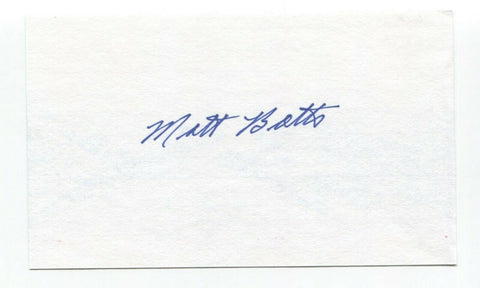 Matt Batts Signed 3x5 Index Card Baseball Autographed Signature