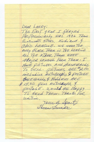 Tom Turner Handwritten and Autographed Letter Negro League ALS signature