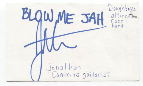 Doughboys - Jonathan Cummins Signed 3x5 Index Card Autographed Signature Band