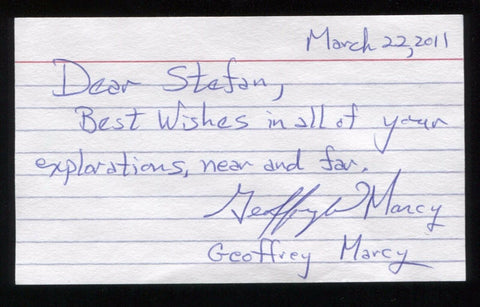 Geoffrey Marcy Signed 3x5 Index Card Signature Autographed Astronomer