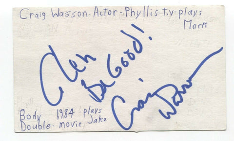 Craig Wasson Signed 3x5 Index Card Autographed Signature Actor Body Double
