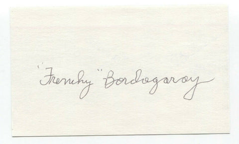 Frenchy Bordagaray Signed 3x5 Index Card Baseball Autographed Signature