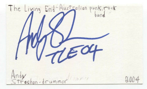 The Living End - Andy Strachan Signed 3x5 Index Card Autographed Signature