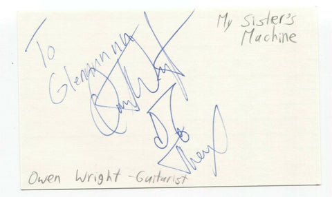 My Sister's Machine - Owen Wright Signed 3x5 Index Card Autographed Signature