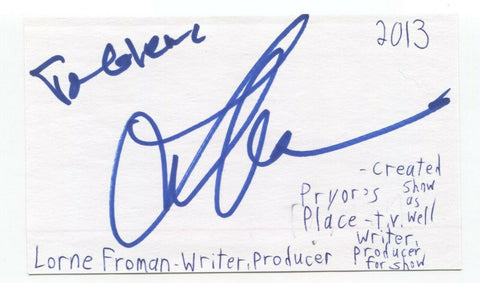 Lorne Frohman Signed 3x5 Index Card Autograph Signature Comedy Writer Producer