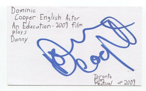 Dominic Cooper Signed 3x5 Index Card Autographed Preacher Marvel Howard Stark