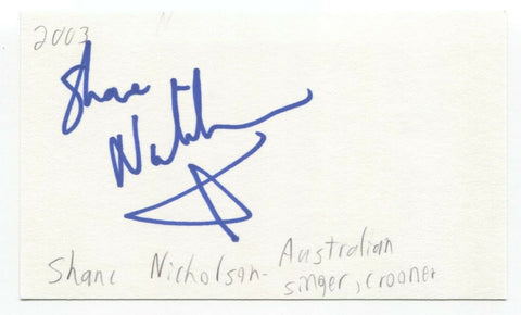 Shane Nicholson Signed 3x5 Index Card Autographed Signature Singer